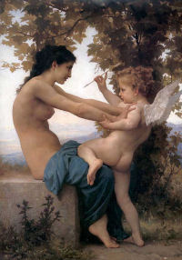William Bouguereau - Jeune fille se defendant contre lamour, 1880