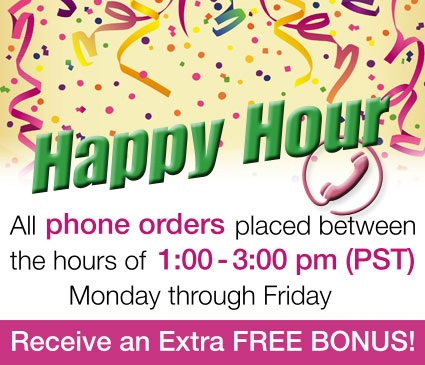 All Phone Calls Between 1 - 3 pm receive a free bonus when they call 1-800-405-1912